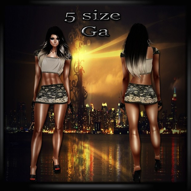 Golden Top & Skirt GA- Derive in 5 Sizes & 4 Colors- Catty ONLY