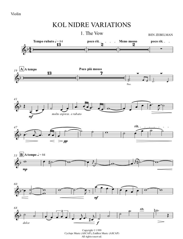 Kol Nidre Variations sheet music: Violin part only