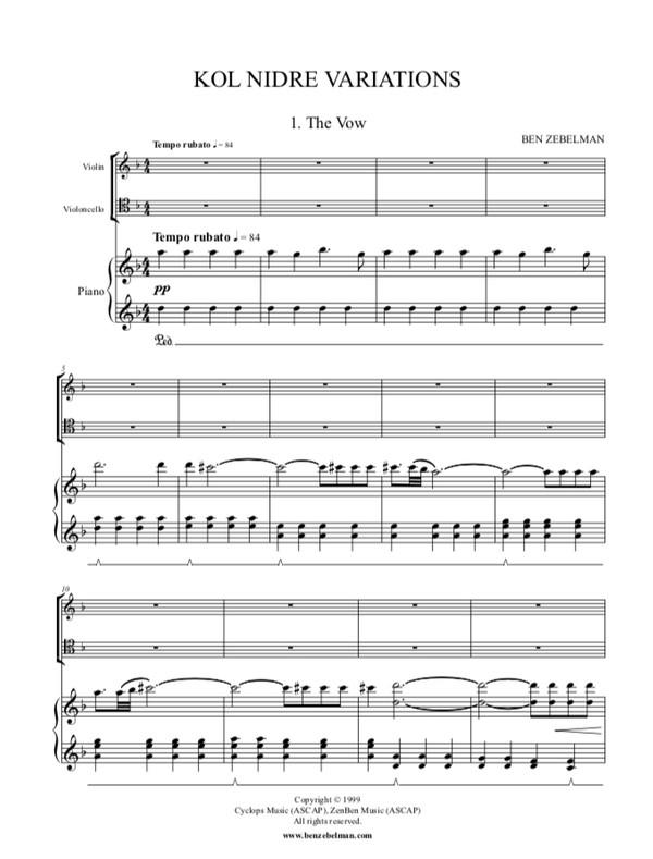 Kol Nidre Variations sheet music: Piano Score Only