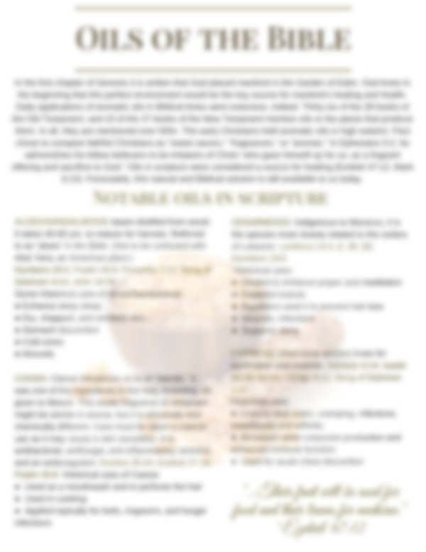 Oils of the Bible Handout, PPT, Class Invitations