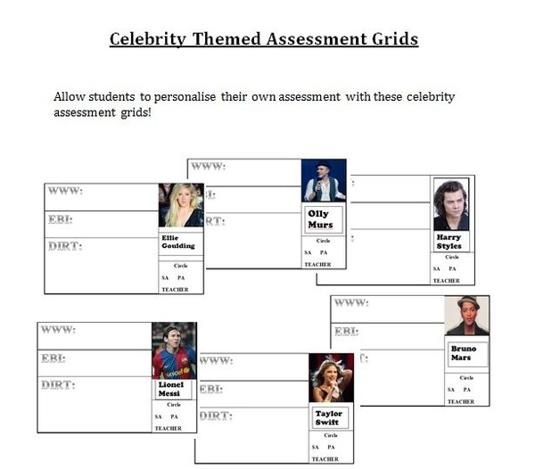 Celebrity Themed Assessment Grids