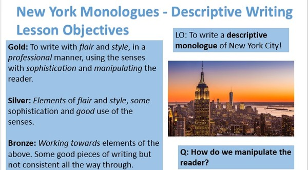 New York Monologues - Descriptive Writing