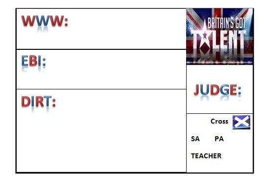 Britain's Got Talent Themed Assessment Grid