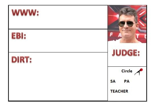 X Factor Themed Assessment Grid