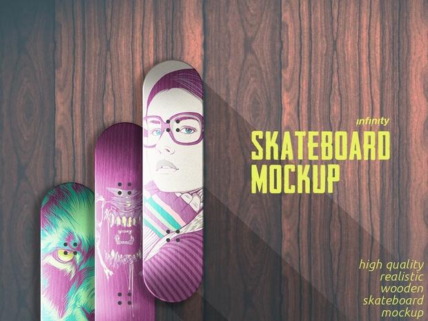 Wooden Skateboard Mockup