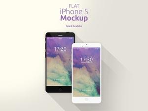 Flat iPhone 5 Mockup [Black & White]