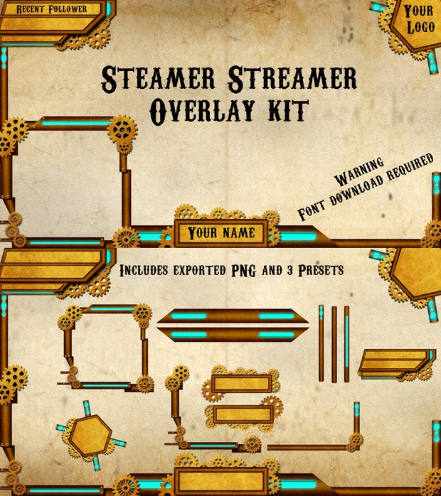 Steamer Streamer Overlay kit with presets