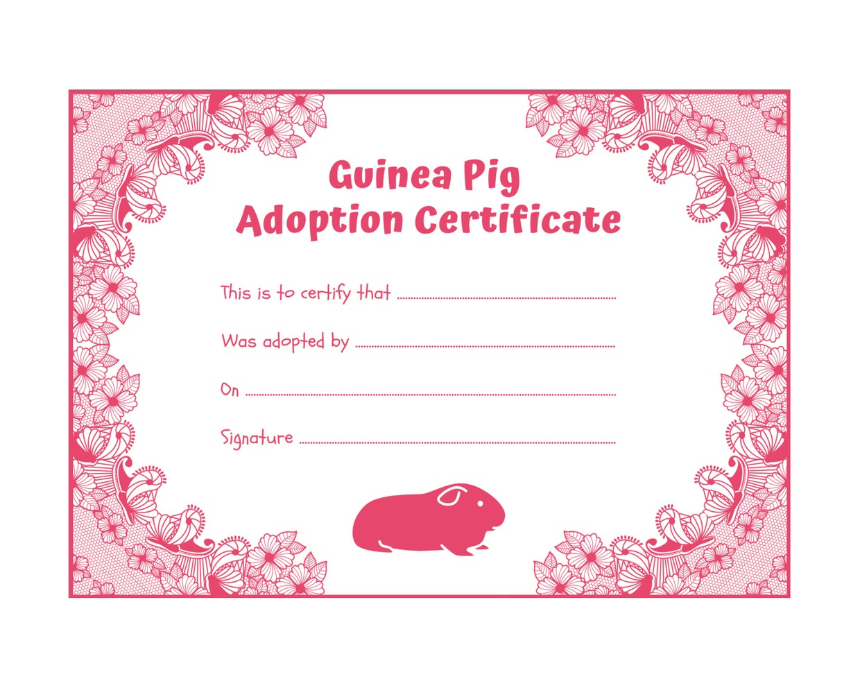 Guinea Pig Adoption Certificate - Pink - INSTANT DOWNLOAD