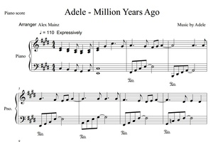 Adele - Million Years Ago (PIANO SHEET)