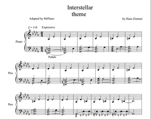 Interstellar theme - by Hans Zimmer (PIANO SHEET)