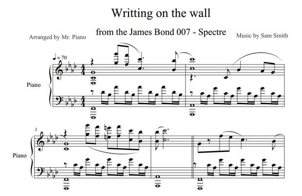 James Bond: Spectre - Writing's on the Wall (PIANO SHEET)