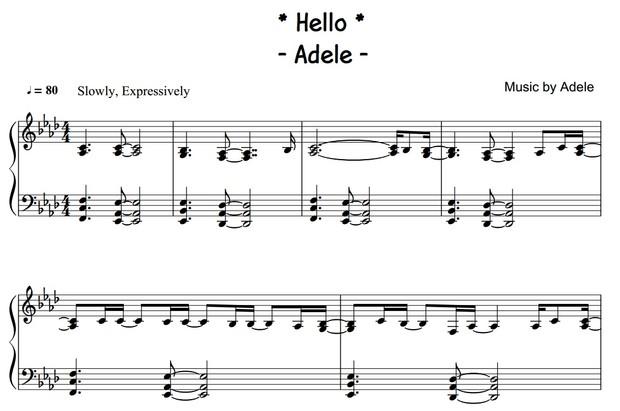 Adele - Hello (PIANO SHEET)