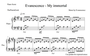 Evanescence - My immortal  (PIANO COVER & SHEET)