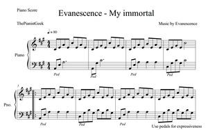 Evanescence - My immortal  (PIANO COVER & SHEET)