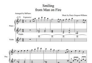 Smiling from Man on Fire movie (PIANO SHEET)