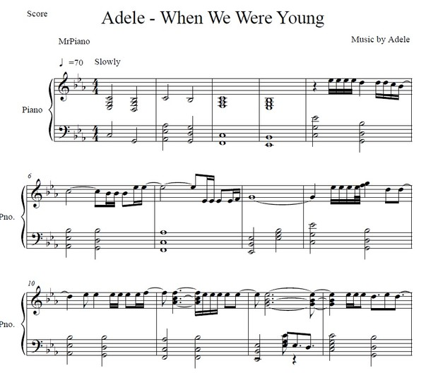 Adele - When We Were Young (Piano sheet)