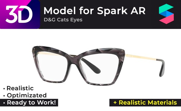 3D D&G Cats Eyes Glasses + Realistic Materials |  Очки D&G Cats Eyes + Реалистичные материалы