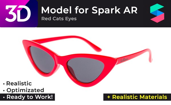 3D Red Cats Eyes Glasses + Realistic Materials |  Очки Red Cats Eyes + Реалистичные материалы