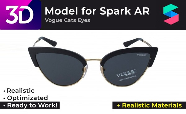 3D Vogue Cats Eyes + Realistic Materials |  Очки Vogue Cats Eyes + Реалистичные материалы