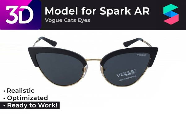 Photo-realistic 3D Model of Vogue Cats Eyes |  Очки Vogue Cats Eyes, фотореалистичная модель