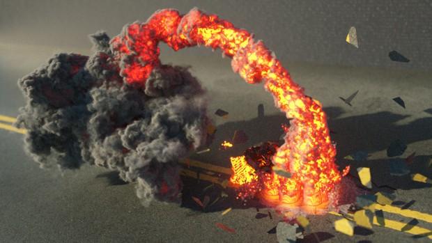 Cinema 4D Turbulence FD Rocket Axe Hit Octane Render