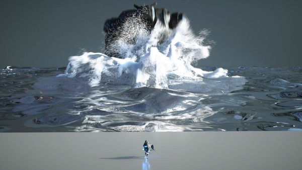 Houdini Flip Fluids Robot Landing