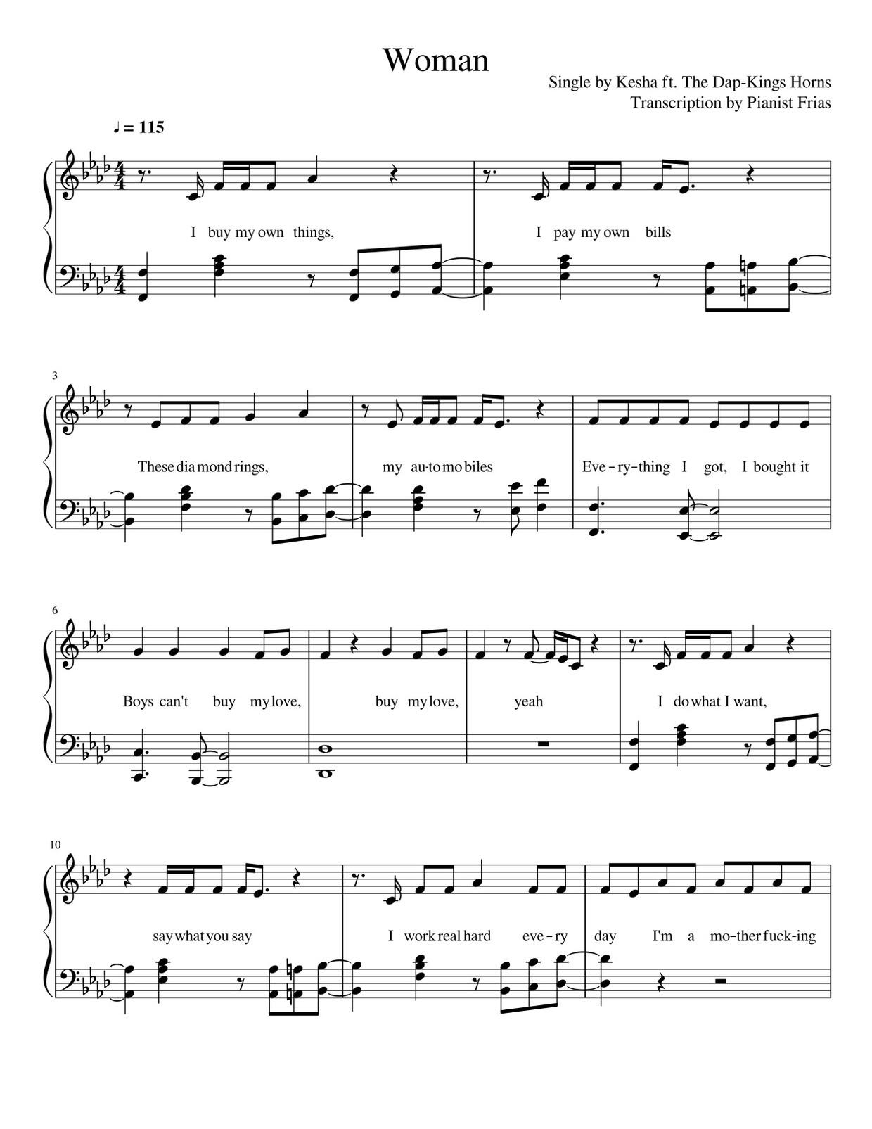 Kesha ft. The Dap-Kings Horns - Woman (pdf)
