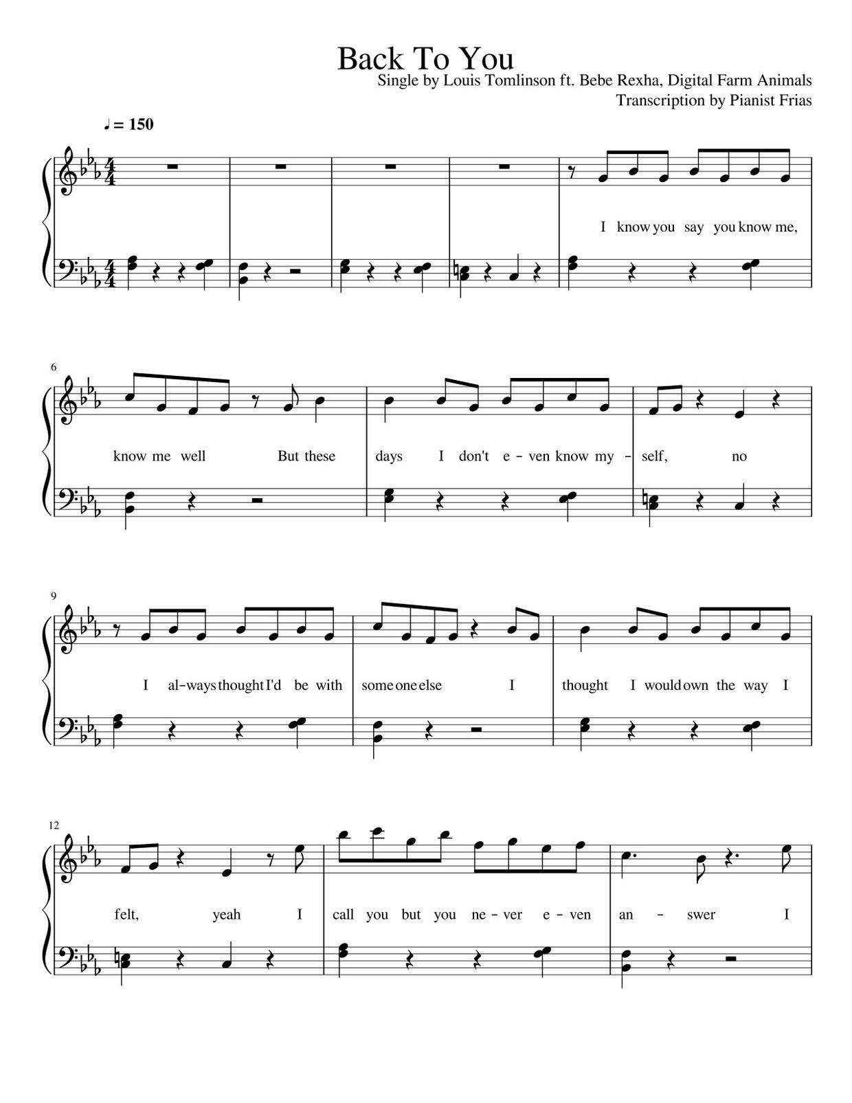 Louis Tomlinson ft. Bebe Rexha, Digital Farm Animals - Back To You (pdf)