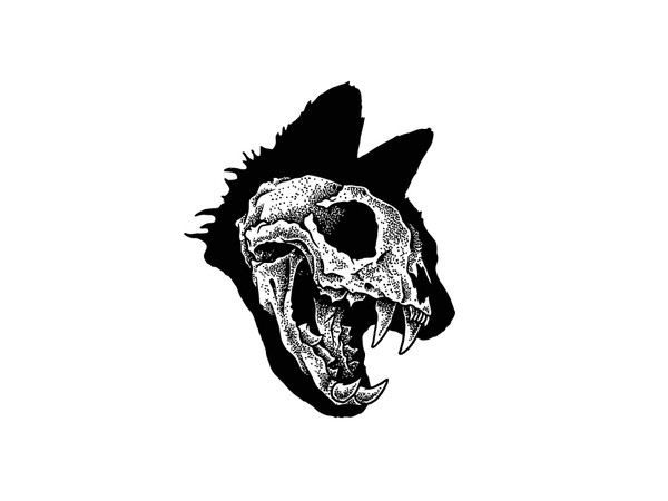 Skull Cat Tattoo Flash Design