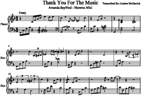 Thank You For The Music Piano Transcription (Mama Mia Soundtrack)
