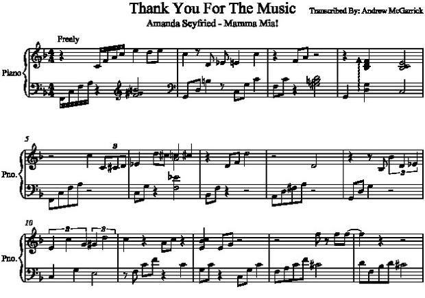 Thank You For The Music Piano Transcription (Mama Mia Soundtrack)