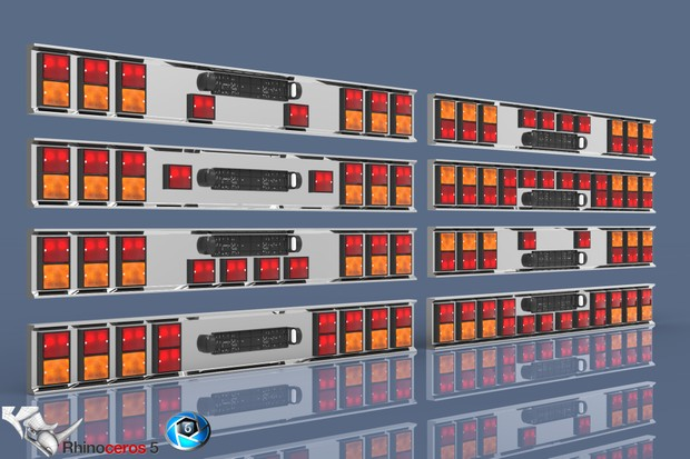 3D Squared Lights Tail Panels Model Pack