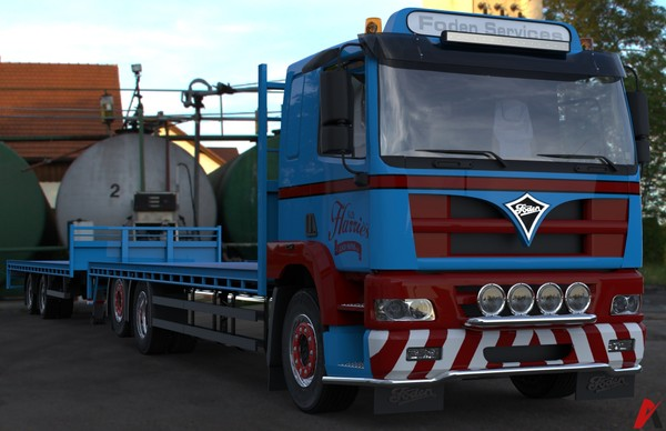 3D Foden Alpha 3000 Flatbed & Trailer Model