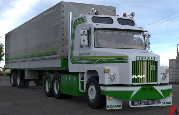 3D Scania 140 L 6×2 Patrick v.d. Hoeven & 2 Axled Curtain Trailer