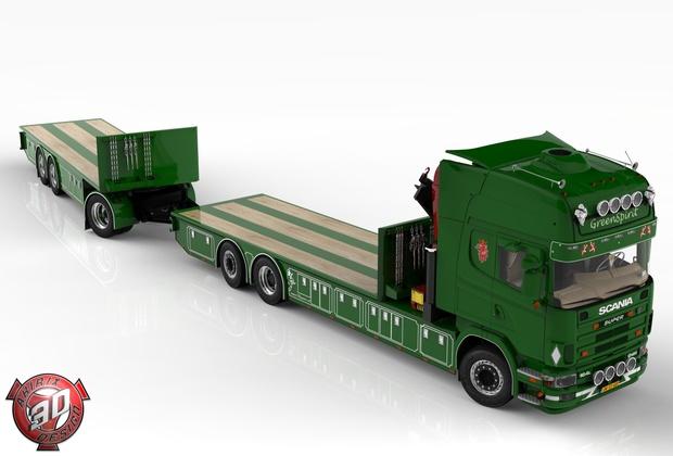 3D Scania 164L + Trailer Tandem GreenSpirit