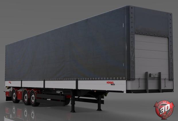 3D Custom Kogel Curtain Trailer Model