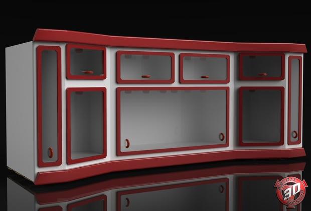 3D Interior Glass Cabinets