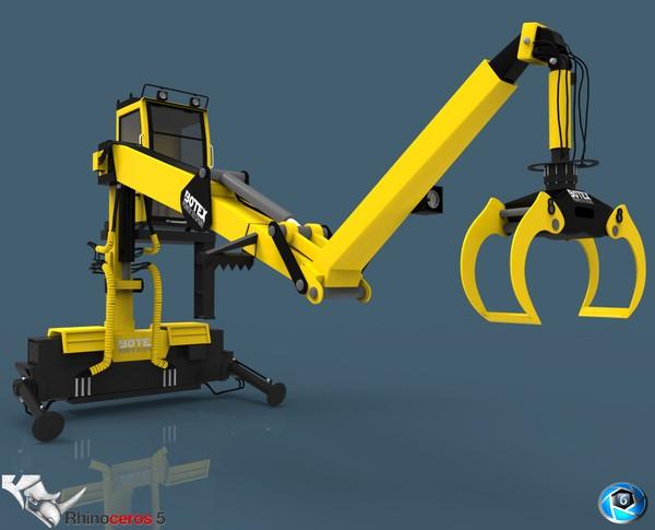 3D Timber Crane Botex Model