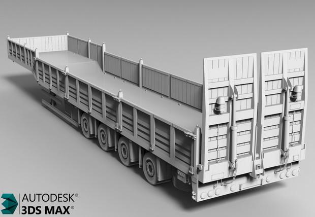 3D Opentop 4 Axle Trailer Model
