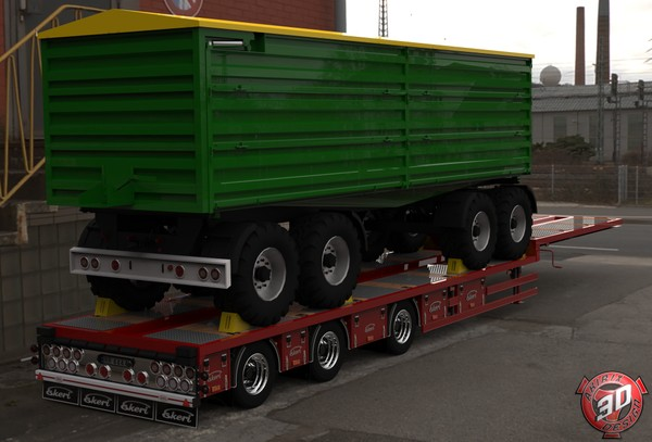 3D Ekeri Flatbed With Grain Trailer Model