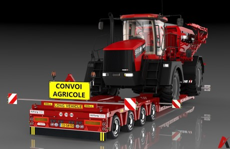 3D 4 Axles Doll Trailer With Case Titan Load Model