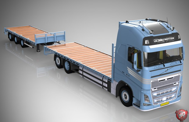 3D Volvo FH Flatbed Empty + Trailer Model