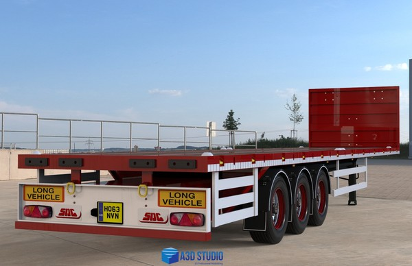 3D SDC New Flatbed Trailer