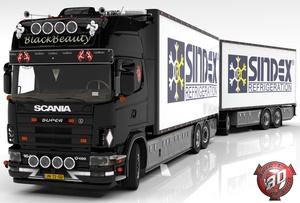 3D Scania 164L + Trailer Tandem Frigo