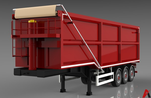 3D Fruehauf Steel Bulker Trailer Model