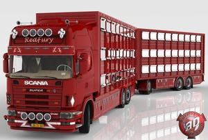 3D Scania 164L + Trailer Tandem Animal Transport