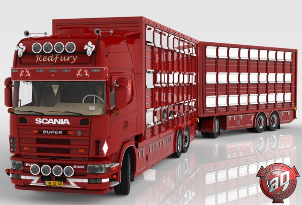 3D Scania 164L + Trailer Tandem Animal Transport