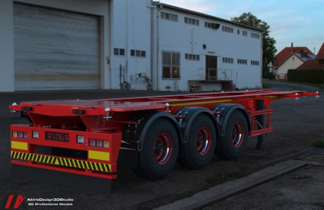 3D Container Trailer Model