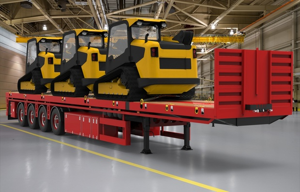 3D 4 Axled Oversize  Trailer JCB Loads