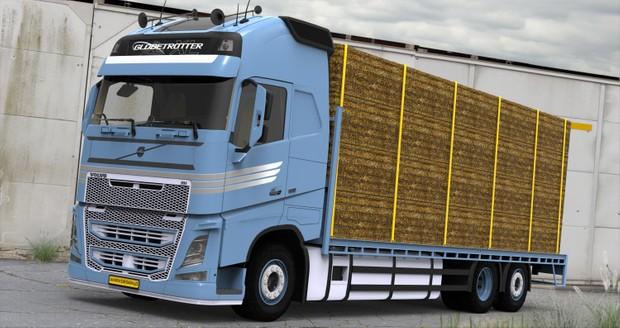 3D Volvo FH13 Tandem Flatbed & Trailer Bale Loaded